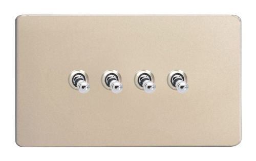 Varilight XDNT9S Screwless Satin Chrome 4 Gang 10A 1 or 2 Way Toggle Light Switch